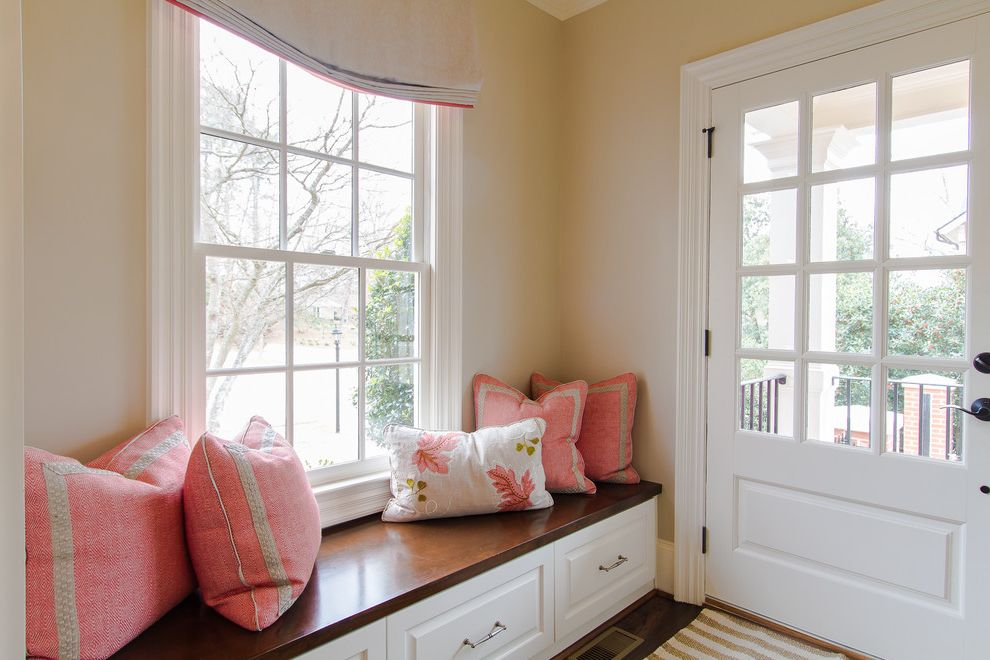 Park Benches for Sale with Traditional Entry  and Baseboards Built in Bench Mud Room Mudroom Pink Cushions Pink Pillows Roman Shades Storage Bench Tan Walls White Trim Window Seat Window Treatments