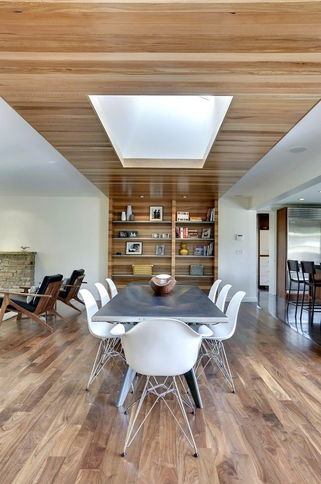 Park Forest Apartments St Louis   Contemporary Dining Room  and Dining Chairs Dining Table Open Shelves Skylight Wood Ceiling Wood Wall