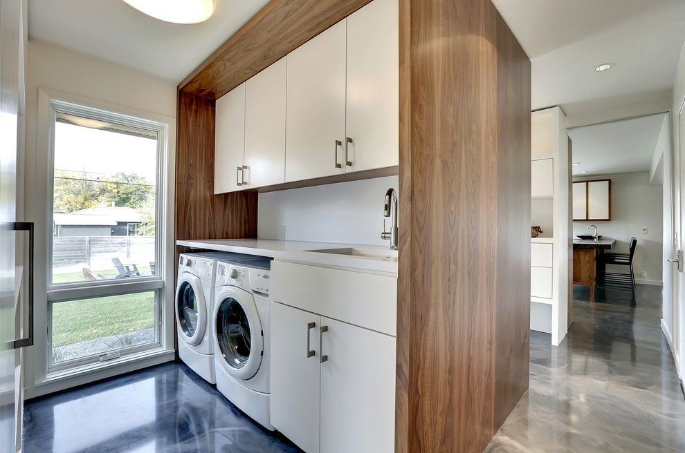 Park Forest Apartments St Louis   Modern Laundry Room  and Gray Floor High Gloss Floors Open Laundry Room White Countertop Wood Wall