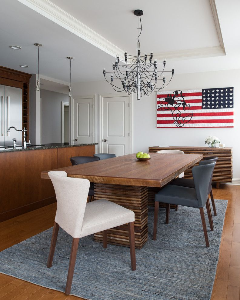 Park Forest Apartments St Louis with Contemporary Dining Room  and American Flag Art Chandelier Gray Area Rug Pendant Lights Tray Ceiling Upholstered Dining Chair