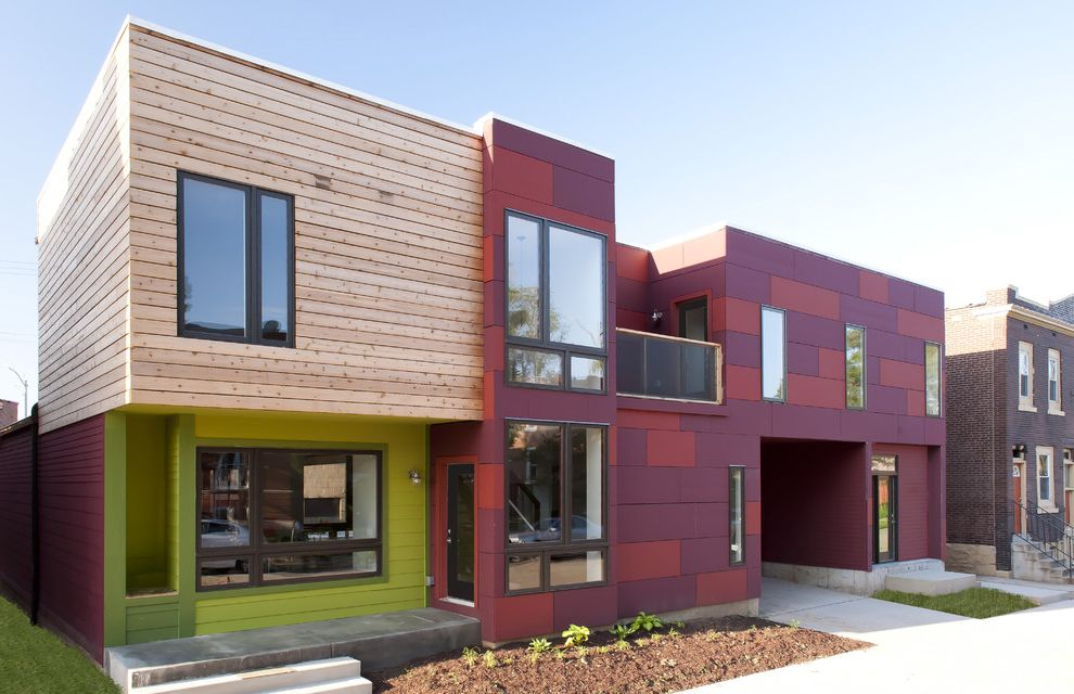 Park Forest Apartments St Louis with Contemporary Exterior  and Balcony Bark Mulch Cedar Clad Windows Concrete Porch Cubist Entry Lawn Lime Green Maroon Metal Metal Windows Overhang Parking Space Rain Screen Red Urban