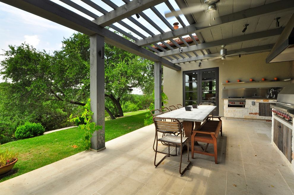 Parts of a Roof   Contemporary Patio  and Beams Ceiling Fans Concrete Tile Covered Gray Stained Wood Hill Country Hillside Outdoor Dining Outdoor Grill Patio Pergola Ranch View