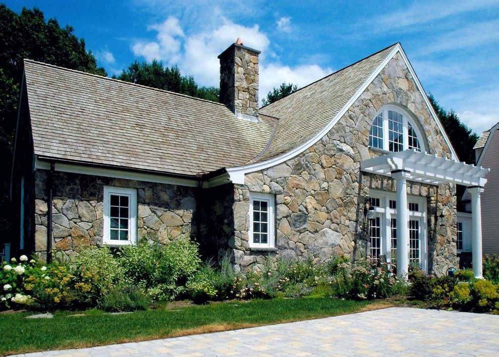 Parts of a Roof with Traditional Exterior Also Bluestone Columns Copper Cottage Cottage Garden French Doors Glass Doors Grass Lawn New England Fieldstone Pergola Shake Roof Stone Stone House Stone Walls Studio Trellis Trim Azek Turf Windows