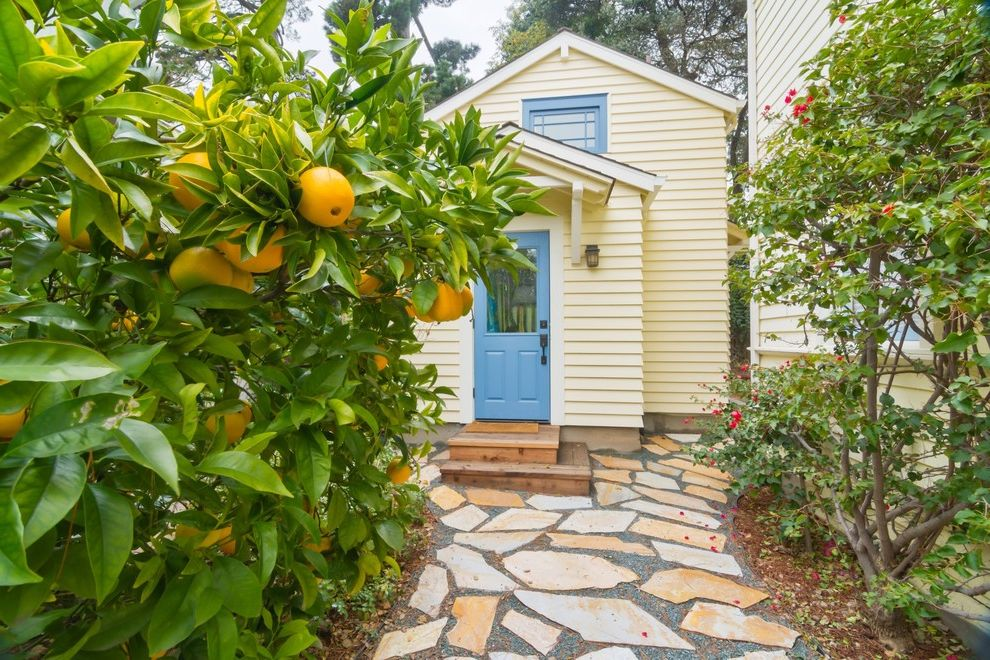 Pasadena Building and Safety   Traditional Exterior Also Backyard Blue Trim Bushes Cobblestones Cottage Entry Gable Roof Loft Orange Tree Oranges Pathway Small Steps Stones