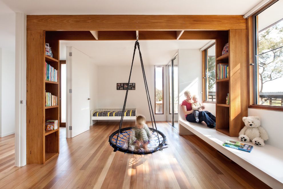 Pasadena Building and Safety with Contemporary Kids  and Bbespoke Boys Bedroom Boys Room Floor to Ceiling Doors Kids Play Structure Natural Lighting Recessed Shelving Shared Bedroom Window Seat Window Seating