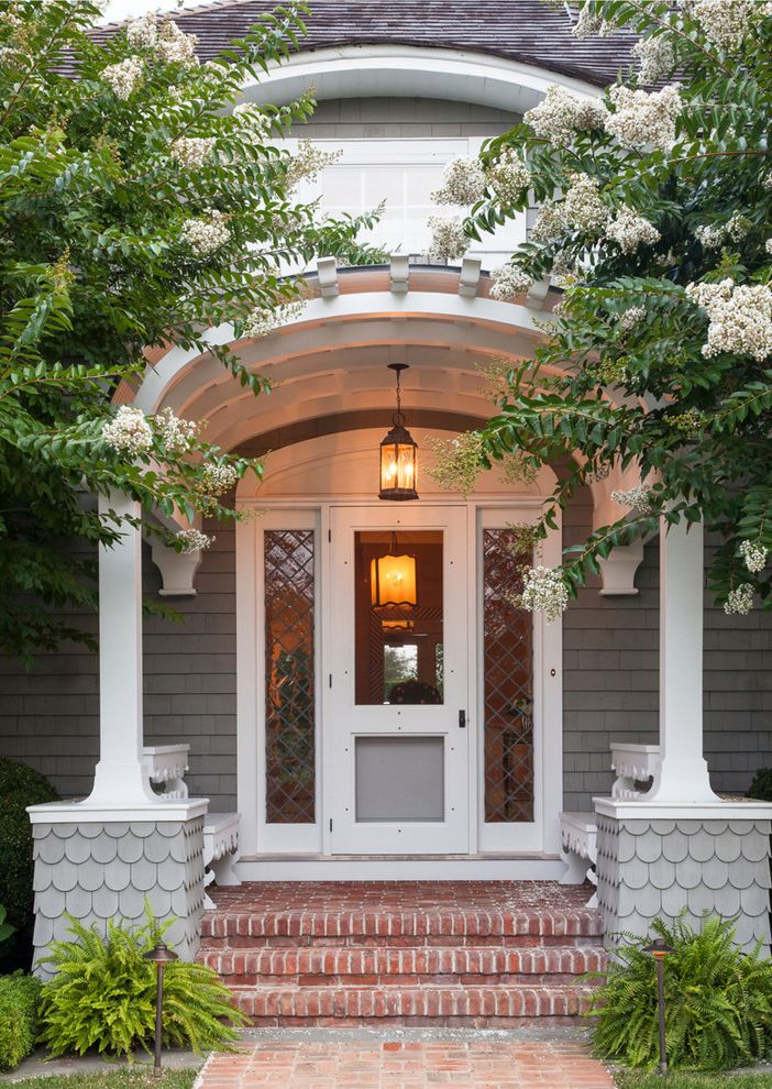 Paso Robles Glass   Traditional Entry Also Brick Steps Gray Shingle Portico Side Lights