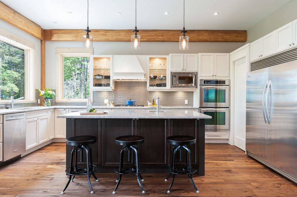Pat the Plumber   Transitional Kitchen Also Casual Elegance Custom Hood Vent Glass Panel Cabinet Industrial Counter Stool Pendant Light Window Over Sink Windows