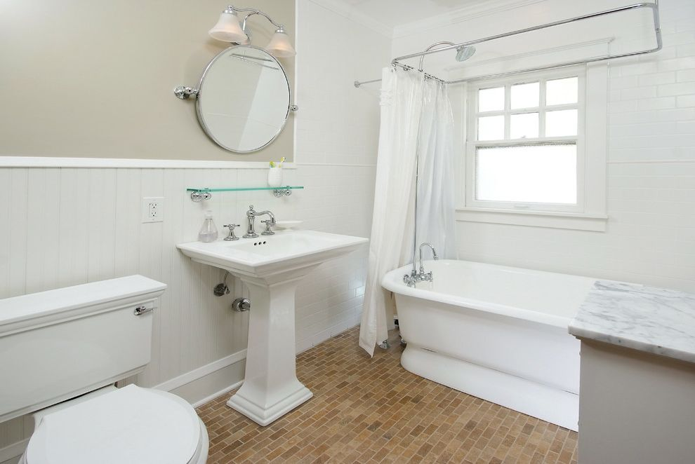 Pat the Plumber with Victorian Bathroom Also Beadboard Marble Pedestal Tub Round Mirror Shower Curtain Tile Floor Tile Walls Tilt Mirror Wainscot Wall Sconce White Subway Tile