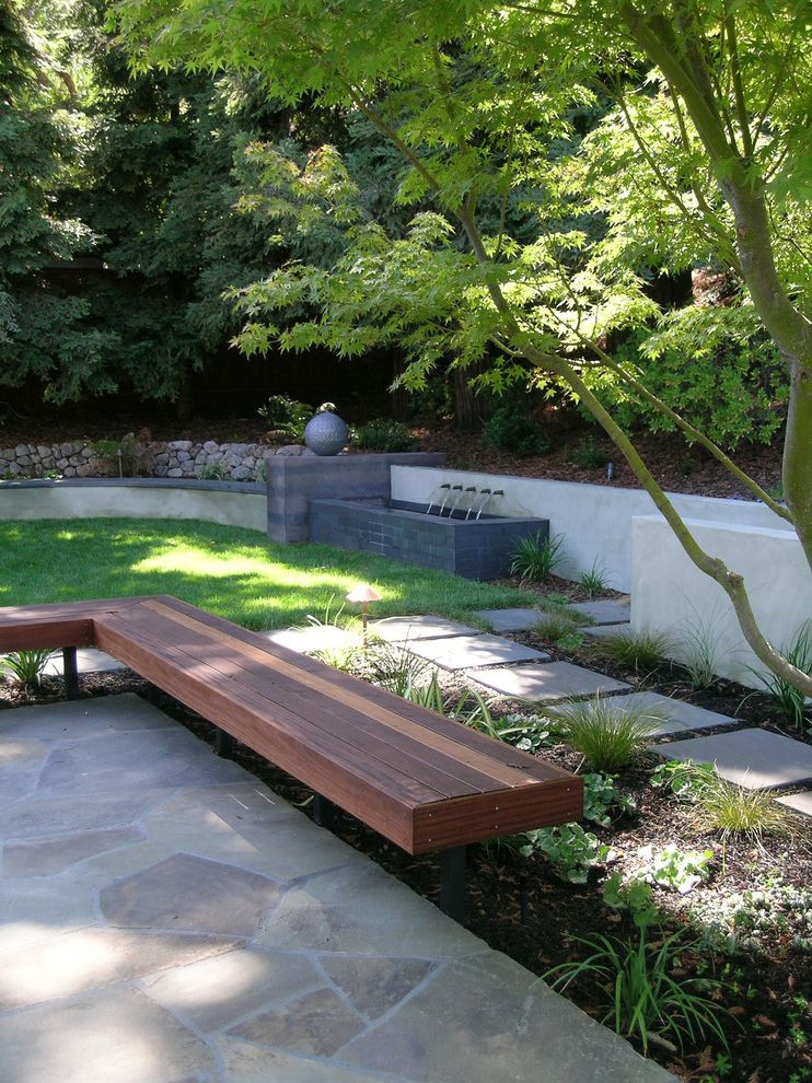 Patio Benches for Sale with Contemporary Landscape Also Bench Concrete Flagstone Fountain Grass Japanese Maple Lawn Outdoor Seating Path Paver Planter Raised Planter Retaining Wall Rock Seat Wall Step Turf Walkway Wall Water Feature