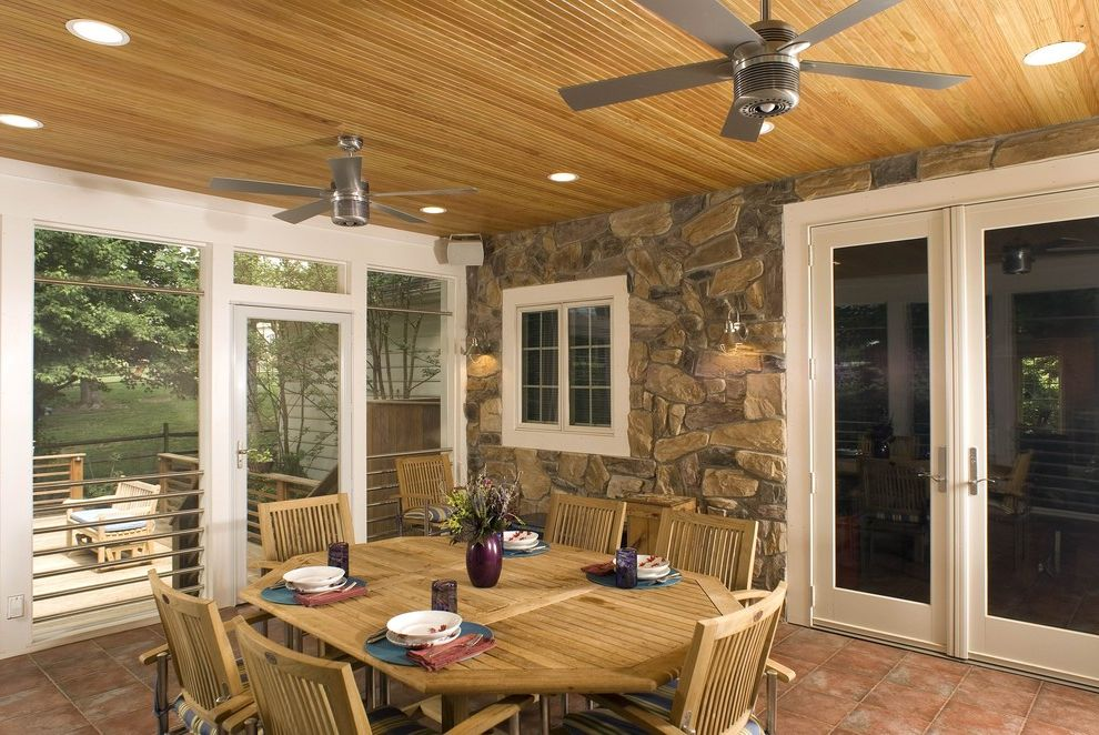Patio Ceiling Fans with Lights   Traditional Porch Also Accent Ceiling Ceiling Fan Ceiling Lighting Ceiling Treatment French Doors Glass Doors Outdoor Dining Patio Doors Patio Furniture Recessed Lighting Screen Porch Stone Facade Stone Wall Wood Ceiling