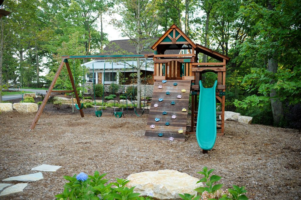 Patio Swing Set with Canopy   Eclectic Landscape  and Boulder Cedar Shakes Climbing Wall Cottage Exterior Jungle Gym Lake House Lake Michigan Play Area Slate Slide Stone Wall Swing Treehouse
