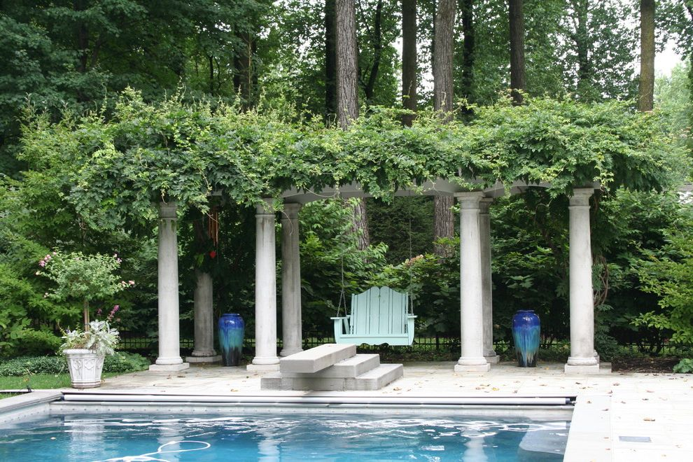 Patio Swing Set with Canopy   Traditional Landscape Also Climbing Plants Columns Container Plants Decorative Garden Urns Diving Board Patio Patio Furniture Pool Porch Swing Potted Plants Vines