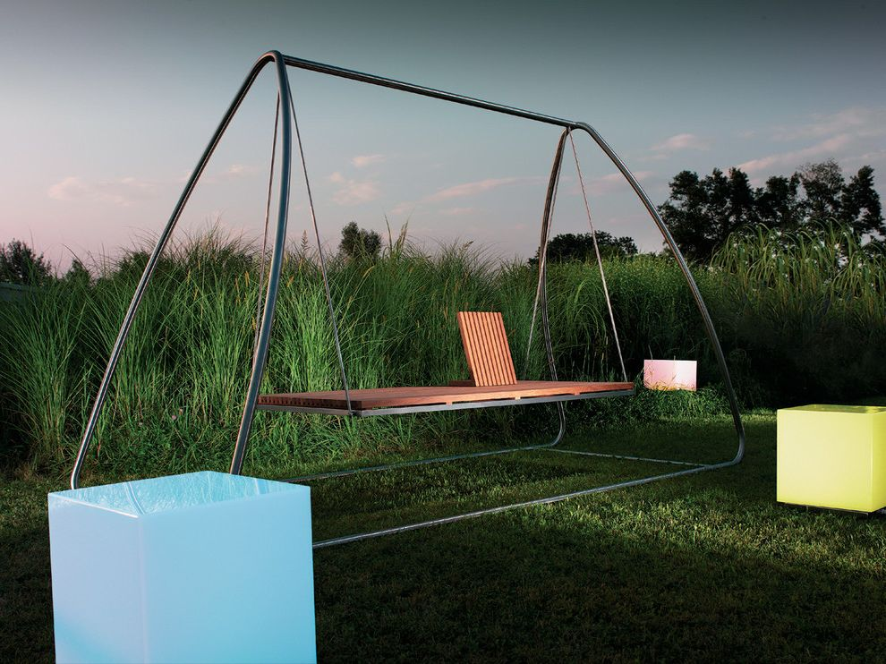 Patio Swing Set With Canopy For Traditional Landscape And Backyard