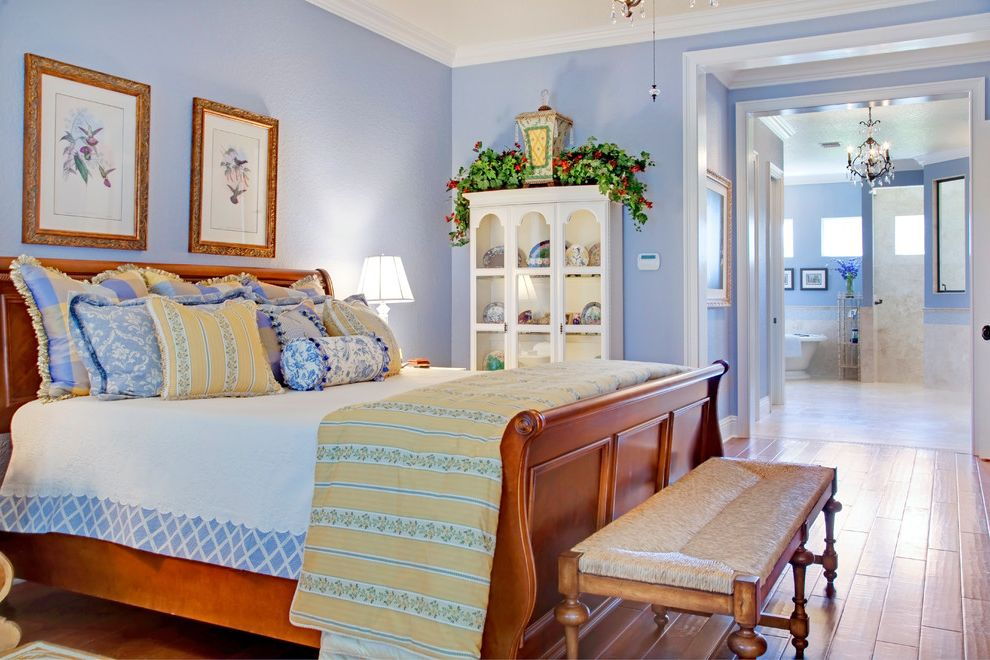 Pats Manor Homes   Mediterranean Bedroom Also Bench Chandelier China Cabinet French Light Blue Master Suite Rush Seat Sleigh Bed Stained Wood Yellow
