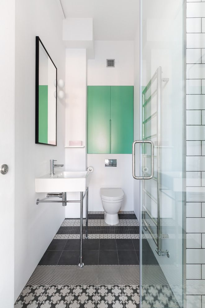Patterned Ceramic Floor Tile   Scandinavian Bathroom  and Bathroom Contemporary Bathroom Different Pattern Tile Glass Door Glo Balls Green Heated Towel Rack Loft Wc Pattern Tiles Pop of Color Powder Room Tile
