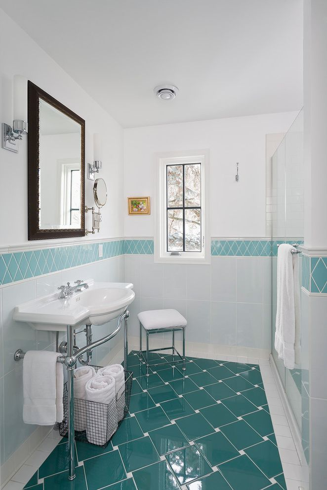 Patterned Ceramic Floor Tile with Traditional Bathroom  and Antique Mirror Blue and White Tile Console Sink Eclectic Master Bath Morocco Patterned Tile Romantic Sink Turquoise Tile White and Aqua