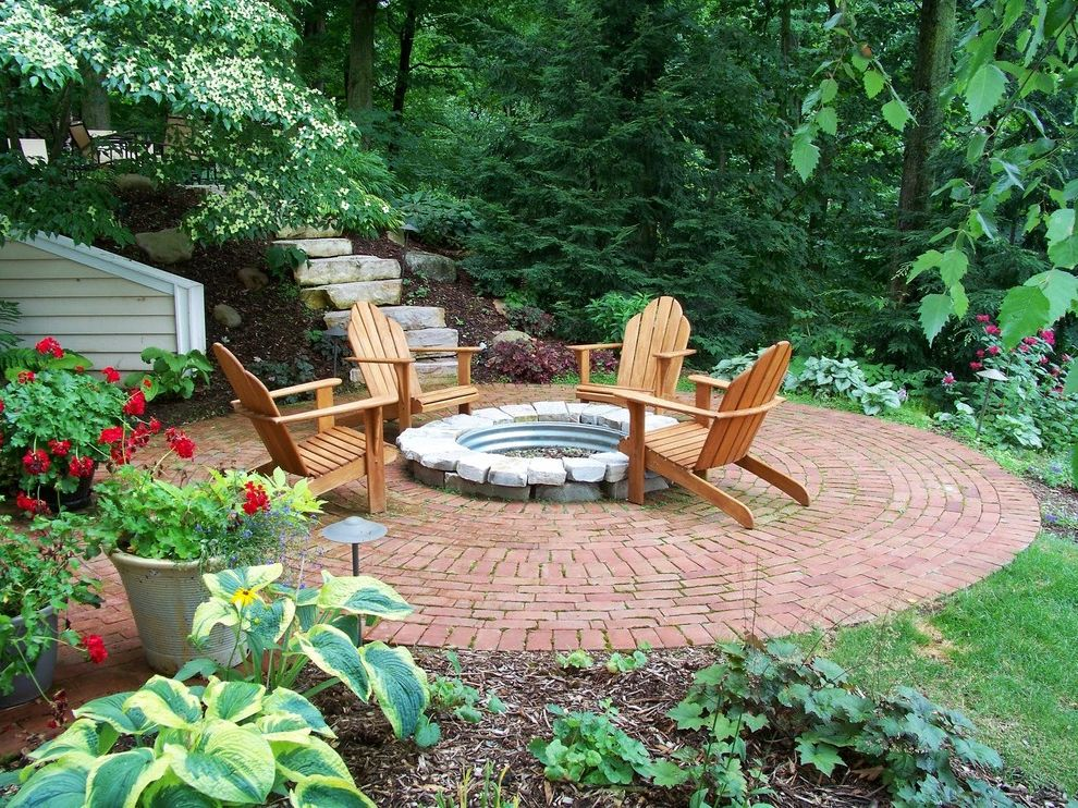 Paver Calculator   Traditional Patio Also Adirondack Chairs Firepit Landscaping Outdoor Living Space Outdoor Patio Patio Paver Stones Potted Plants Red Geraniums Round Firepit Round Patio Shade Tolerant Plants Stone Slabs Wood Adirondack Chairs