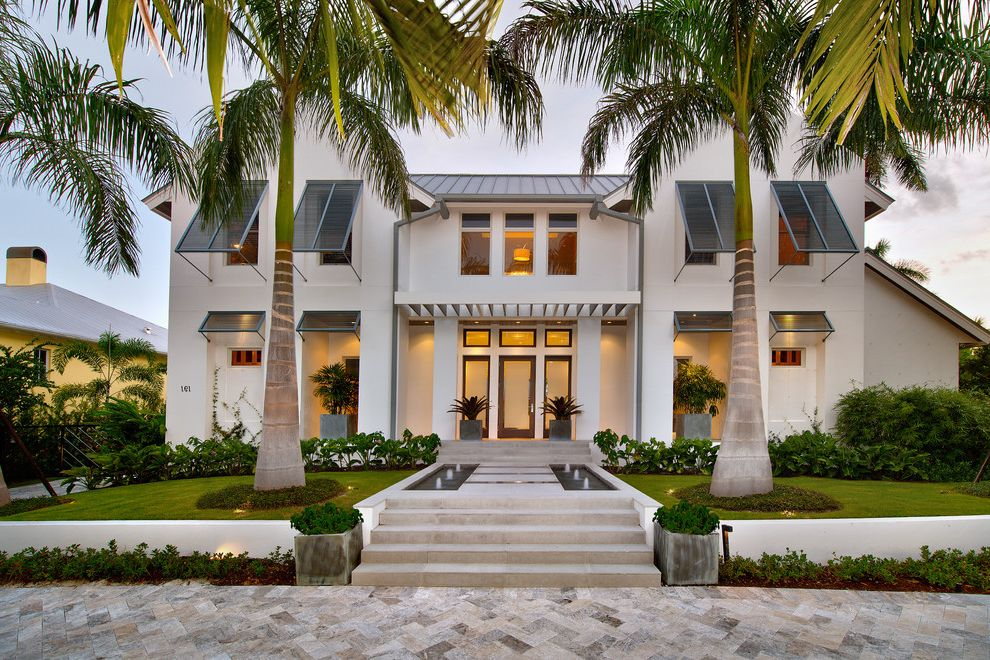 Paver Calculator with Beach Style Exterior Also Bahama Shutters Beach Home Coastal Home Entry Grass Landscape Palm Trees Pavers Plants Standing Seam Roof Steps Water Feature