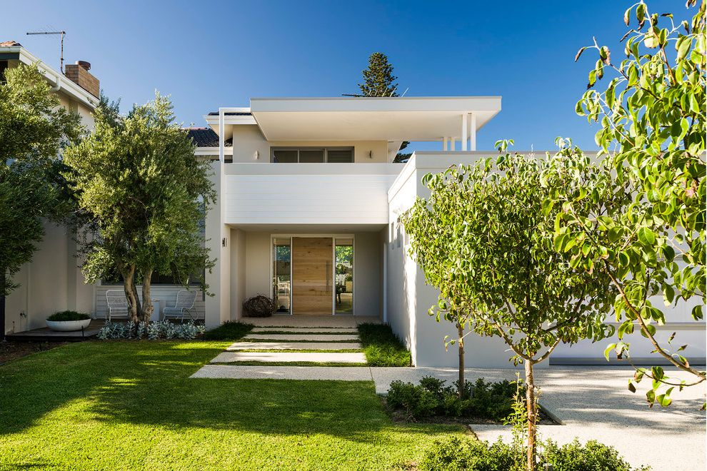 Paver Calculator with Modern Exterior  and Balcony Flat Roof Front Door Front Entrance Frontage Landscape Lawn Modern Landscape Path Terrace Tree Wood Door Wood Front Door