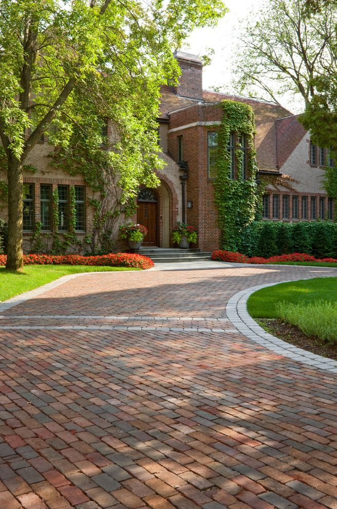 Paver driveway cost with traditional landscape and for Brick front house cost