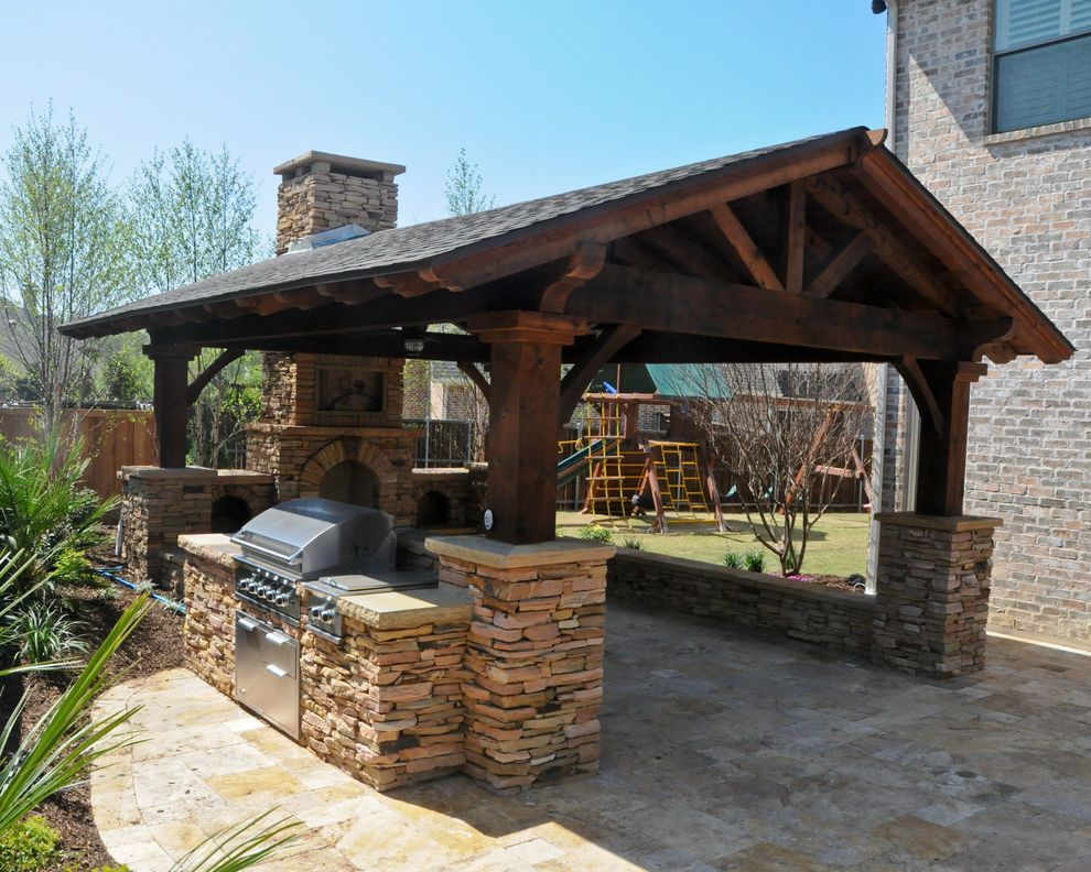 Pavillion Agency Inc   Traditional Patio Also Covered Patio Fireplace Grilling Station Overhead Structure