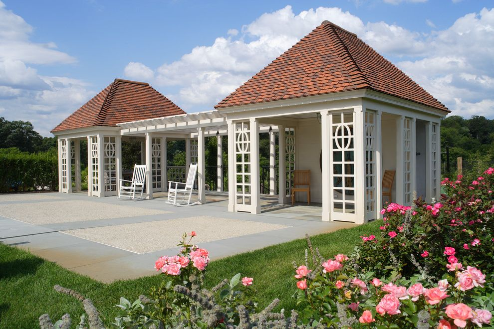 Pavillion Agency Inc   Traditional Patio  and Backyard Pavillion Grass Hip Roof Pink Roses Red Roof White Pergola White Rocking Chairs