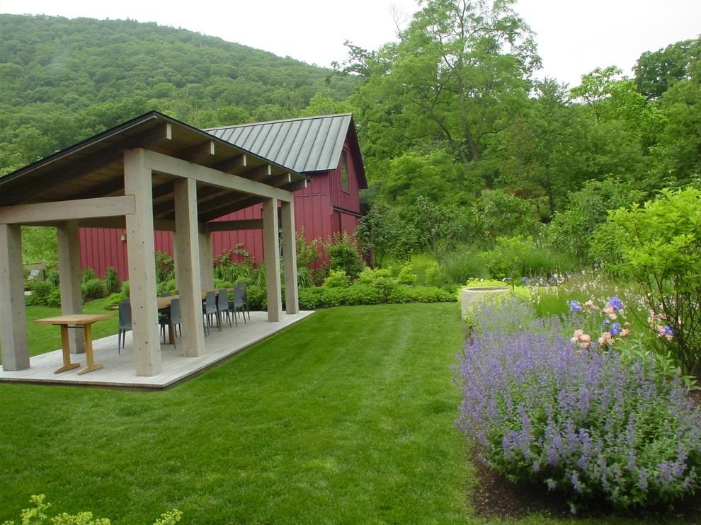 Pavillion Agency Inc with Traditional Landscape  and Barn Grass Lawn Metal Roof Outdoor Dining Patio Furniture Pergola Turf