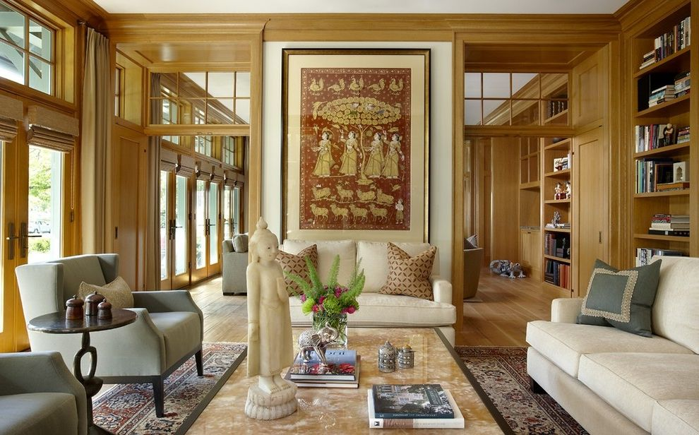 Pearl Finish Photo with Eclectic Living Room Also Area Rug Bookshelves Built in Shelves Built in Storage Decorative Pillows Framed Art French Doors Neutral Colors Oriental Rug Throw Pillows Transom Wall Art Wall Decor Wood Flooring