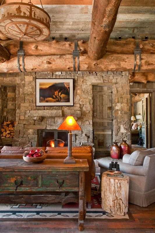 Pearson Place at Avery Ranch with Rustic Family Room Also Cabin Family Room Fireplace Log Reclaimed Rock Rustic Timber Wood