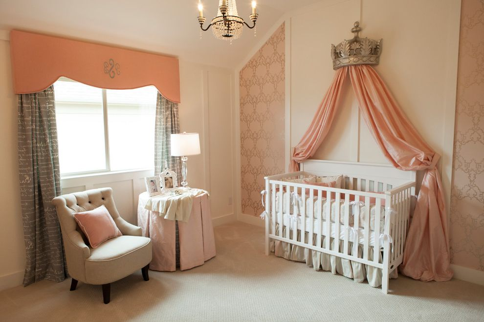 Pearson Place at Avery Ranch with Traditional Nursery  and Beige Carpet Chandelier Gray Curtains Round Table Tufted Armchair Wallpaper White Crib