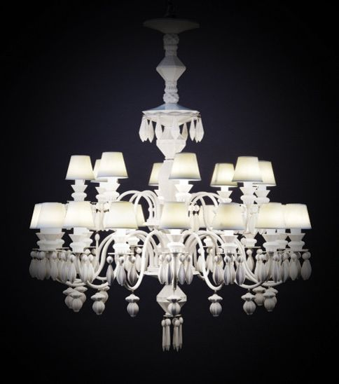 Pego Lamps with Transitional Spaces Also Lladro White Chandelier
