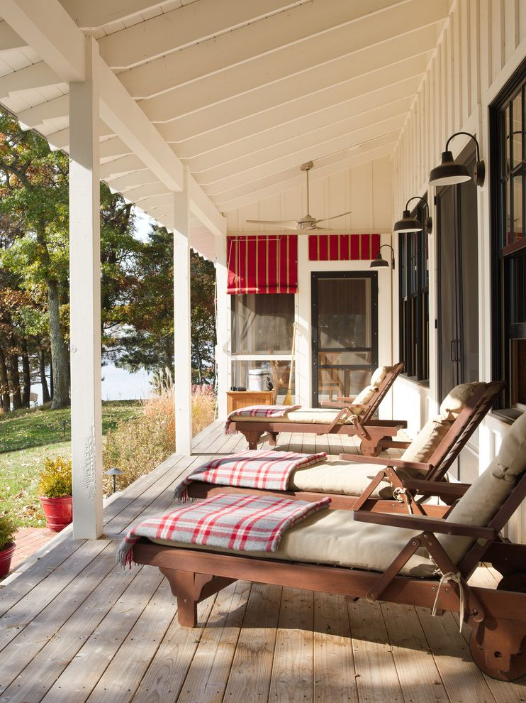 Pendleton Blanket Sale   Farmhouse Porch  and Bede Design Ceiling Fan Chaise Lounges Country Deck Farmhouse Gridley Graves Lake House Lake View Lounge Chairs Painted Wood Plaid Porch Porch Lights Red Shades