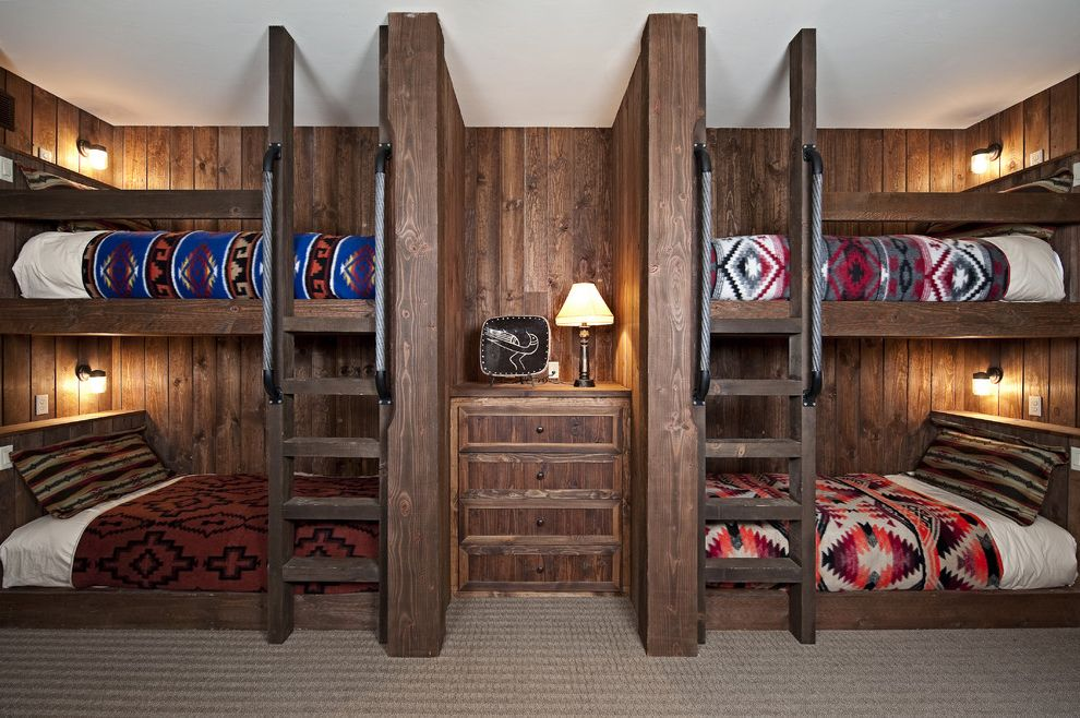 Pendleton Blanket Sale with Rustic Bedroom Also Built in Bed Built in Ladder Bunk Beds Cabin Navajo Blanket Reading Lamp Rustic Shared Bedroom Symmetry Wood Paneling
