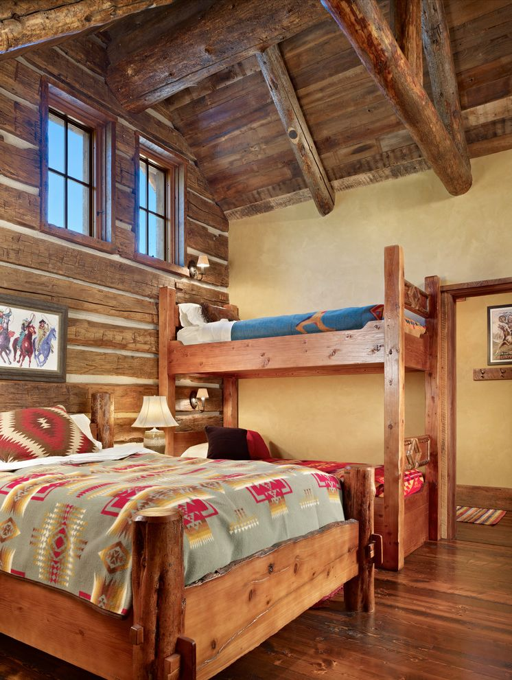 Pendleton Blanket Sale with Rustic Bedroom  and Bunk Bed Bunkbeds Cowboy Art Custom Doors Deck Exposed Rafters Hewn Slab Siding Log Cabin Log Walls Navajo Blanket Navajo Pattern Pillow Plaster Rustic Wood Ceiling