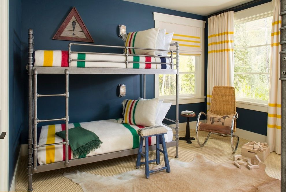 Pendleton Blanket Sale with Rustic Kids  and Bright Colors Bunk Room Colorful Cowhide Rug Metal Bunk Beds Rocking Chair Window Treatment