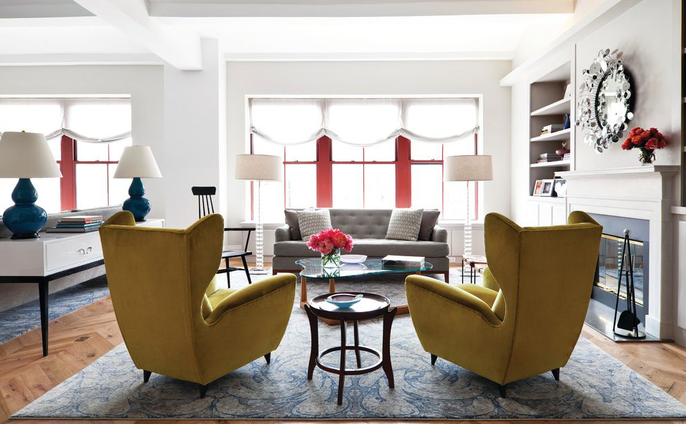 Penny Mustard Furniture   Eclectic Living Room  and Armchair Construction Contracting Fireplace Glass Table Mirror Red Windows Renovation Restoration Round Mirror Rug Wood Floor Yellow Yellow Armchair