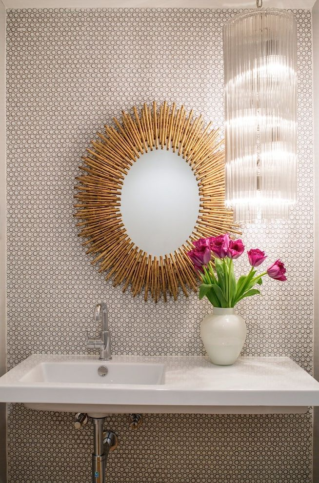 Penny Mustard Furniture with Midcentury Powder Room Also Chandelier Flowers Mid Century Vase Wall Mirror Wall Treatment