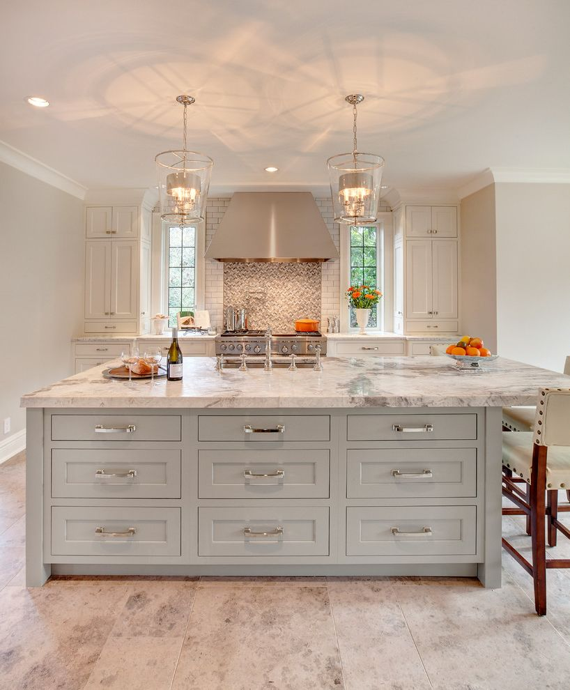 Pental Stone   Transitional Kitchen Also Dura Supreme Pendant Lights