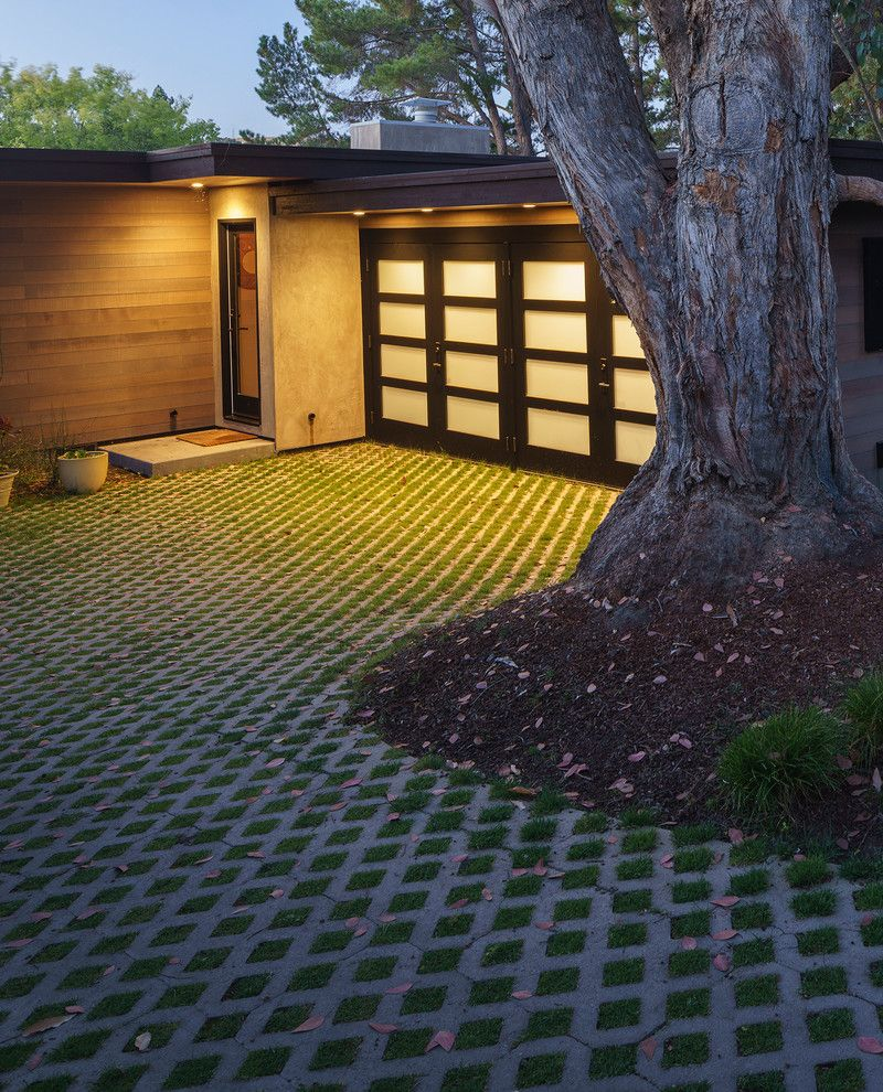 Permeable Pavers Cost   Midcentury Landscape  and Diamond Pattern Driveway Grass Driveway Patterned Grass Driveway
