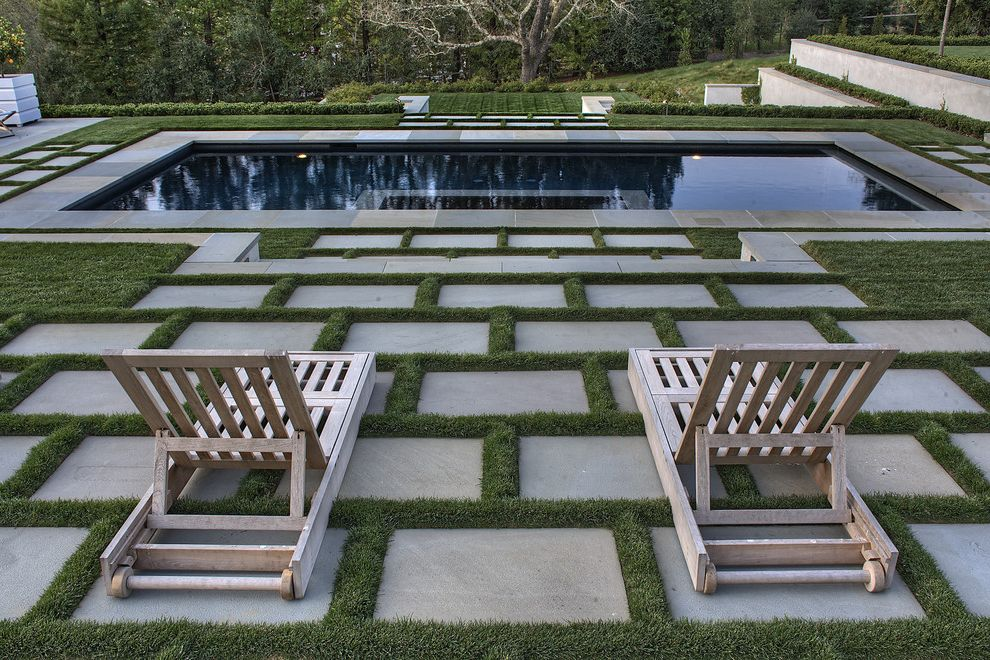 Permeable Pavers Cost with Contemporary Landscape Also Chaise Longue Chaise Lounge Geometric Geometry Grass Between Pavers Outdoor Stairs Patio Furniture Patio Pavers Pavers Permeable Paving Pool