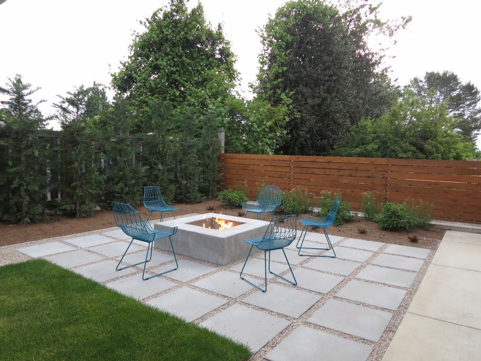 Permeable Pavers Cost with Contemporary Patio Also Blue Outdoor Chair Concrete Fire Pit Concrete Paver Evergreen Fire Pit Grass Grid Lawn Modern Chair Patio Pebbles Slat Fence Wood Fence