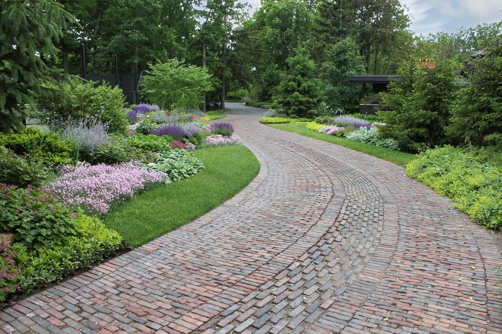 Permeable Pavers Cost with Traditional Landscape Also Antique Brick Brick Pattern Colorful Curved Driveway Drive Garden Garden Path Grass Ground Cover Lawn Lush Perennials Pine Planting Area Purples