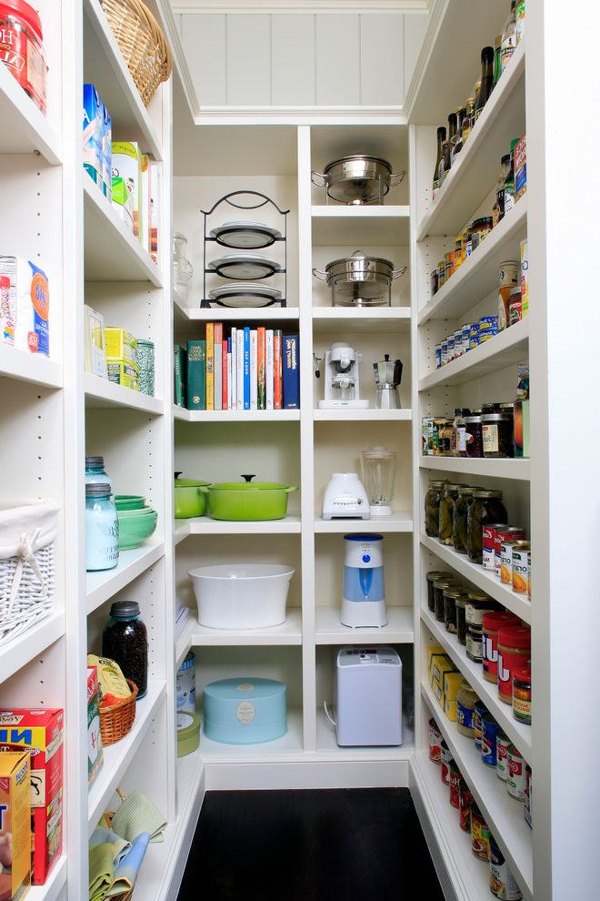 Pest Control Sugar Land   Traditional Kitchen  and Adjustable Shelves Appliance Storage Built in Cabinets Built in Pantry Can Storage Cookbook Storage Corner Shelf Dark Floors Narrow Shelves Open Sheves Organization Pantry Storage Baskets White Pantry