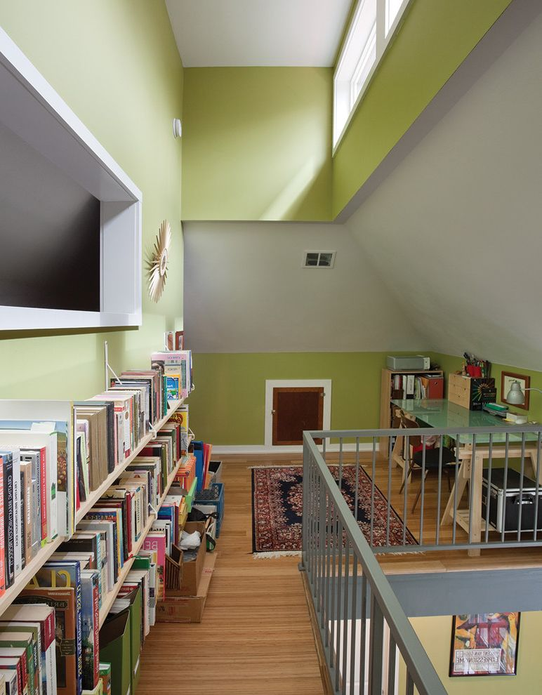 Peters Heating and Air   Contemporary Home Office  and Book Wall Built in Bookcase Built in Bookshelf Clerestory Windows Frosted Glass Desk Gray Wall Green Wall Loft Loft Office Metal Railing Natural Lighting Vaulted Ceiling Wood Floor