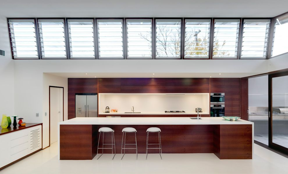 Peters Heating and Air   Contemporary Kitchen Also Award Winning Breakafst Bar Clerestory Windows Eat in Kitchen Extensions Jalousie Window Kitchen Island Queens Park Sliding Glass Doors Sydney White Bar Stools White Counters White Floors