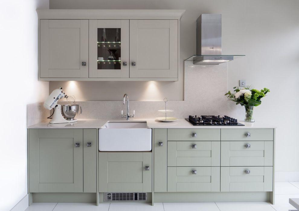 Peters Heating and Air   Contemporary Kitchen  and Backsplash Belfast Sink Butler Sink Cooktop Glass Front Cabinet Kitchenaid Sage Sage Cabinets Sage Green Splashback