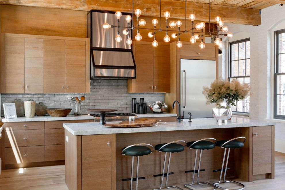 Pewter Light Fixtures   Contemporary Kitchen  and Black Bar Stools Chandelier Contemporary Island Lighting Exposed Beams White Countertop White Painted Brick