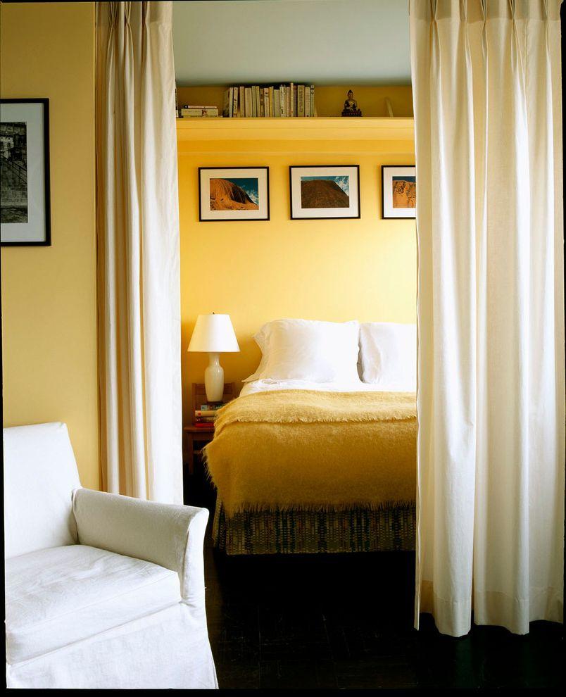 Photo Studio Rental Nyc   Contemporary Bedroom  and Bookshelf Den Drapes Room Divider Shelf Small Bedroom Studio Studio Apartment Wall Decor White Club Chair White Lamp Yellow Bedroom Yellow Wall