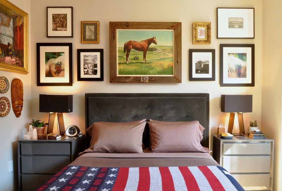 Photo Studio Rental Nyc   Transitional Bedroom  and American Flag Bedding Framed Art New York City Night Stand Nyc Picture Arrangement Picture Wall Studio Table Lamps Upholstered Headboard Wall Art