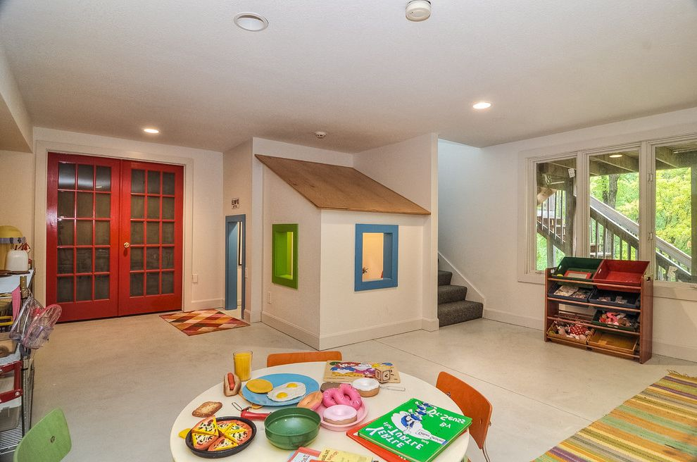 Photographers Topeka Ks   Contemporary Kids Also Basement Ceiling Lighting Color Blocking Colorful French Doors Play Area Play House Play Room Playhouse Recessed Lighting Red Doors Toys Villa